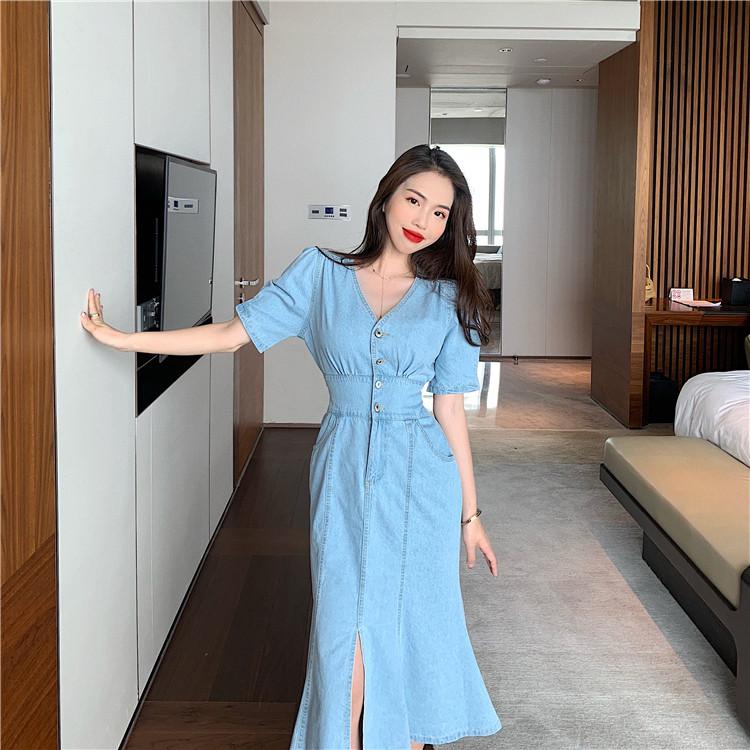 雑誌やネットで話題 韓国ファッション Vネック スプリット デニム ファッション 個性 ワンビース