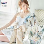 0735レース&フラワーロング着物ドレス 衣装 ダンス よさこい 花魁 コスプレ キャバドレス