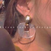 韓国系  ピアス アクセサリー 夏 透明 幾何 誇張 オシャレ シルバー925 人気 新品