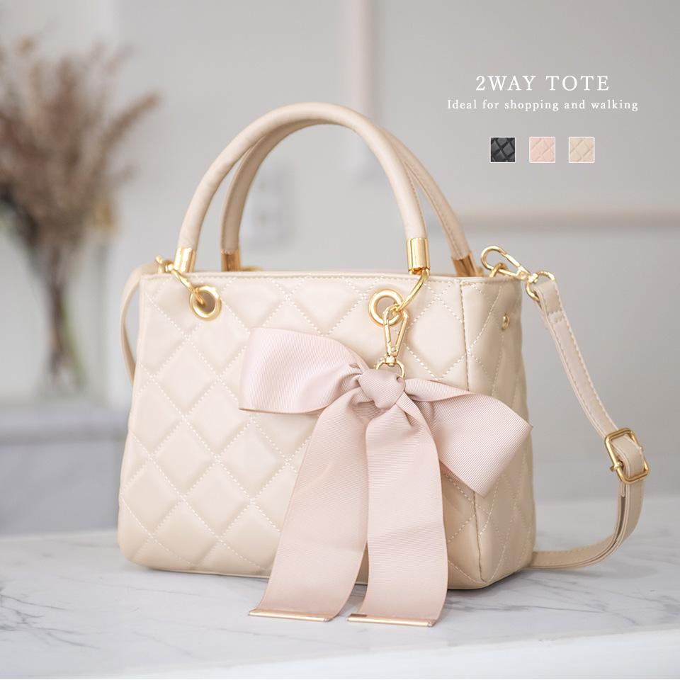 【予約販売】(8月下旬納品) リボン付き キルティング トートバッグ [サマンサ] / レディース バッグ