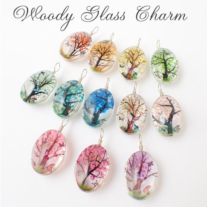 ウッディガラスチャーム オーバル 全12色 1個売り 押し花 パーツ チャーム ナチュラル ハンドメイド