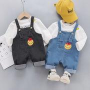 子供服 韓国スタイル スーツ デニム サスペンダー ズボン+Tシャツ 2点セット 女の子 男の子