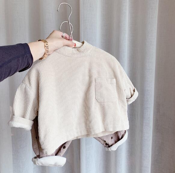 秋冬 裏起毛 裏ボア 男女兼用 子供服 長袖Tシャツ 可愛い 韓国ファッション トップス キッズ