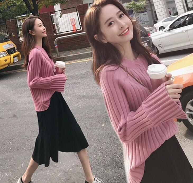 リブ編み ニットセーター+ニットスカート2点セット 韓国ファッション