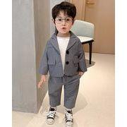 男の子 スーツ 2点セット ショットタイプ ショートジャケット 長ズボン 新作 子供服 3-8歳
