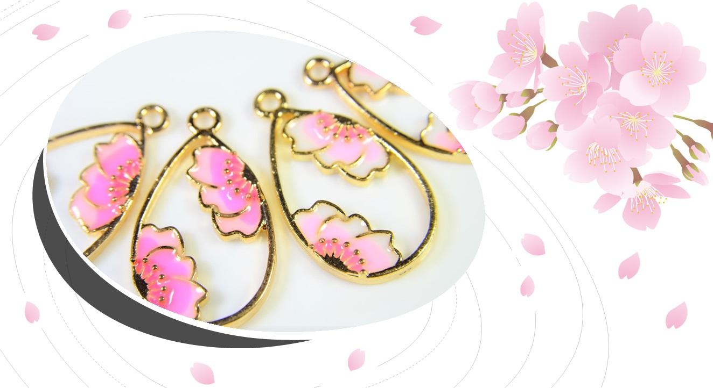 【春夏アクセサリー】桜フレーム/エポチャーム/さくら桜チャーム/和雑貨/トレンドパーツ