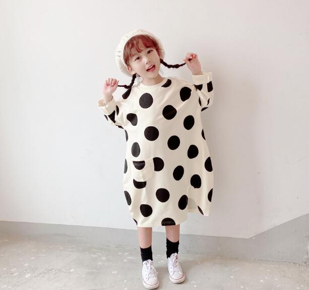 春秋新作 ワンピース キッズ 女の子 子供服 カジュアル 水玉 ドット ファッション 親子服