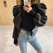 秋服 年 新しいデザイン 女 韓国風 ファッション デザイン 感 小 トップス 泡 長袖