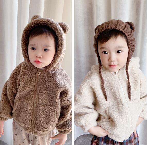 子供服 キッズ アウター 秋冬 もこもこ 暖か フード付き シンプル かわいい