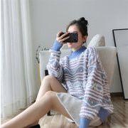 クールでカジュアルなスタイル 韓国ファッション ゆったりする 長袖 セーター 韓国 ハイネック ニット