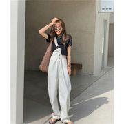 めっちゃかわいい!ハイウエスト 着痩せ デニムパンツ ロングパンツ 韓国ファッション レディース