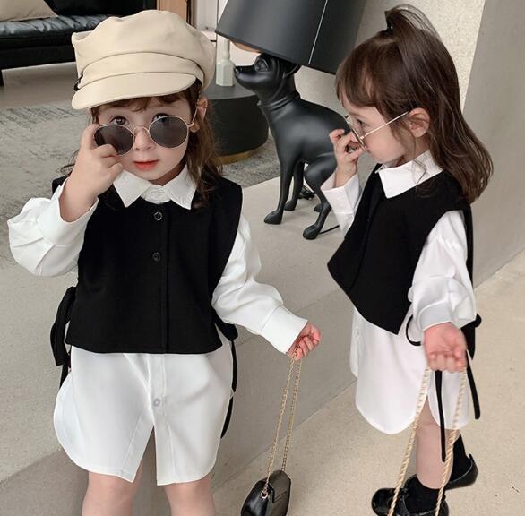 2点セット シャツ+ベスト 春秋 90-150 子供服 キッズ 韓国ファッション カジュアル系