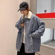 ルース 裏起毛 大型ポケット デニムのジャケット 女 新しいデザイン 秋と冬 韓国風 手