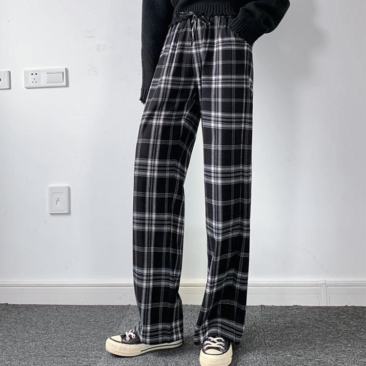 チェック柄 格子 イージーワイドパンツ 黒 ロングパンツ 大きいサイズ