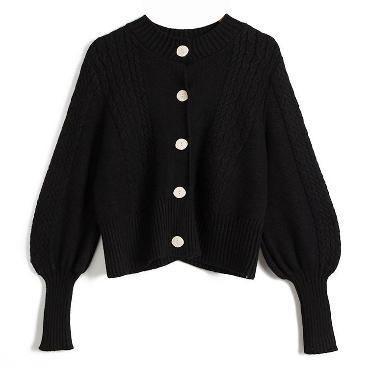 セーター コート ニット ハイウエスト スリム 短いスタイル 単体ボタン ラウンドネック