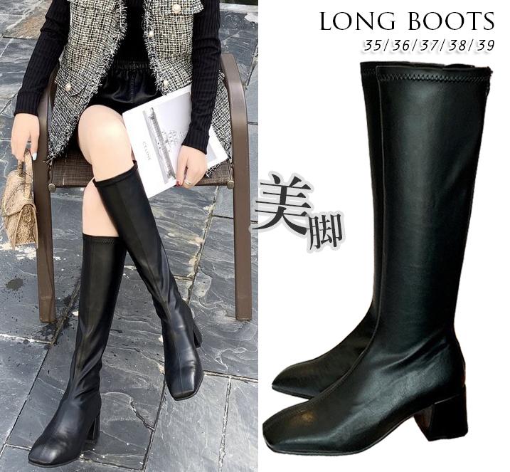 2020秋冬新作 レディース ロングブーツ boots スクエアトゥ 美脚 ブーツ ミドルーヒール デート