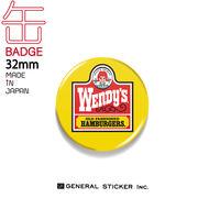 ウェンディーズ 缶バッジ 32mm YELLOW ウェンディーちゃん WENDY'S ライセンス商品 WEN024 2020新作