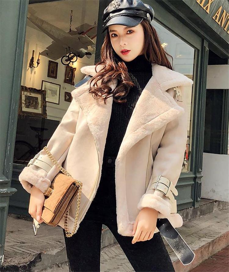 高レビュー 可愛い 韓国ファッション コットンコート チェスターコート ジャケットスエード ファー・毛皮