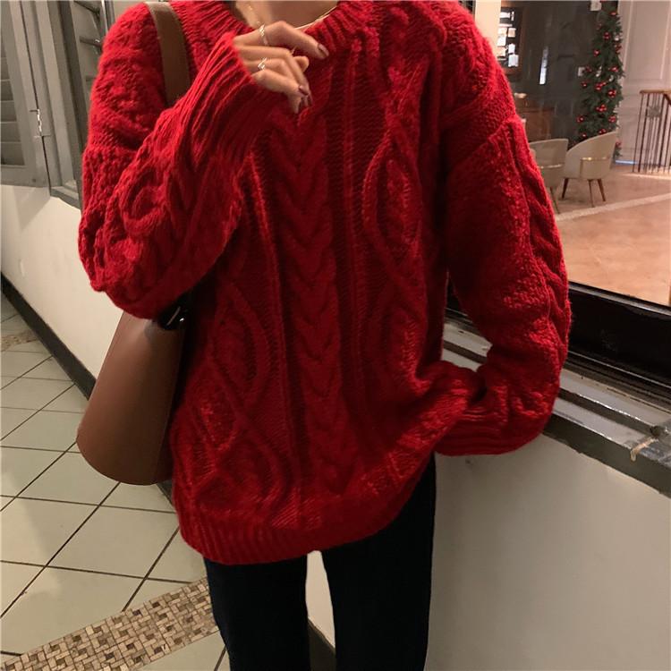 小さい新鮮な レトロ 百掛け レッドツイスト ヘッジ ゆったりする レイジー セーター