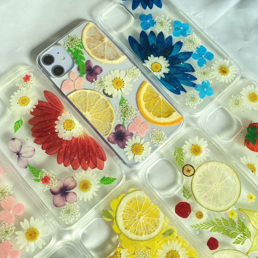1号/2号/3号/4号★スマホケース iphone12 ケース 押し花 押しフルーツ 高級感