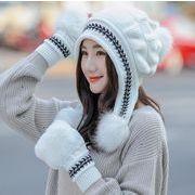 秋冬新作 韓国風 レディース帽子手袋 ウールハット フリース耳保護帽子 かわいい グローブニットハット