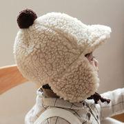 秋冬新作 韓国☆男女 0-1歳幼児☆ベビー帽子☆防寒帽 ロシア帽 ウシャンカ帽子☆キャップ ポンポン 耳あて