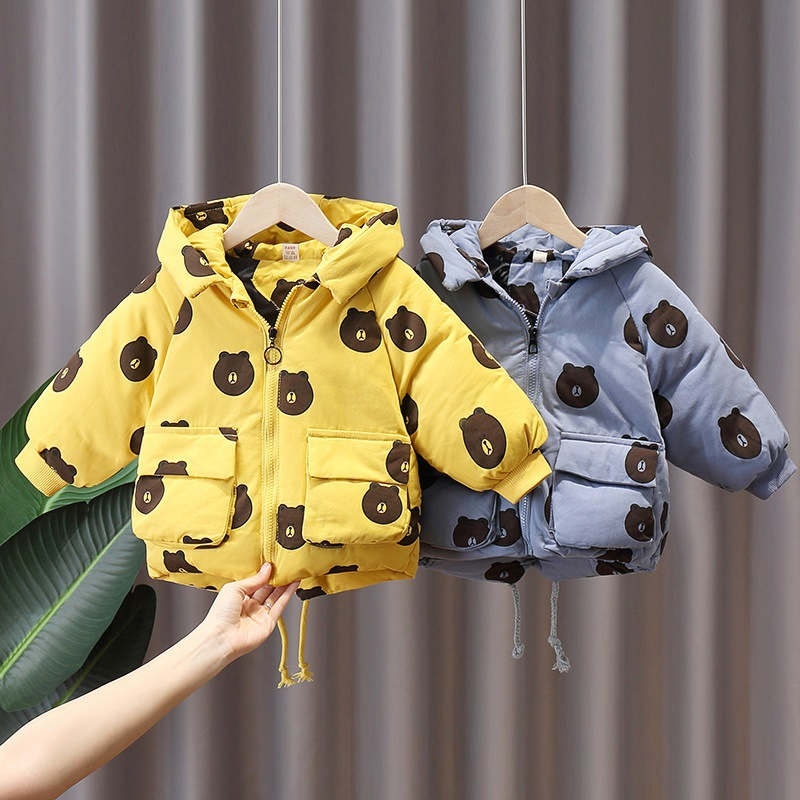【KID】くま柄コート 厚いジャケット 暖かい 冬秋 全2色
