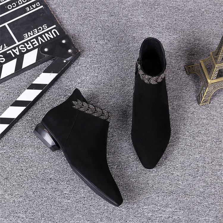 \いまだけの超SALE価格/韓国ファッション アンクルブーツ フラットヒール 革 ショートブーツ