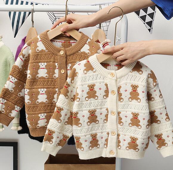 秋 子供セーター 女の子 男の子 子供服 トップス ニット コート 2色