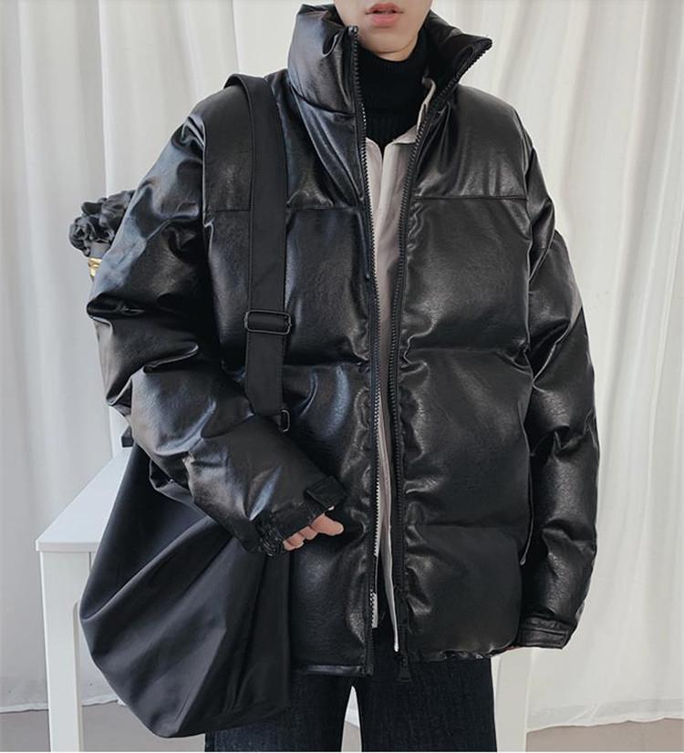 『雑誌に掲載された早秋人気の新品』 韓国ファッション  コート puレザー コットン パンキー 厚手 パン服