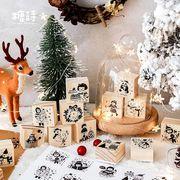 塩系 文具★アルバムDIY★印鑑★ハンコ★木製★手帳素材★クリスマス サンタ少女雪だるま鹿動物