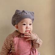 ベビー帽子 秋冬新作 キッズハット 男女子供 レトロ おしゃれ ソフト帽子 猫 ベレー帽 47-50cm 多色