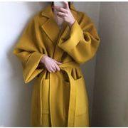 大人カジュアルを極める 気質 包帯 ウエスト ポケット ゆったりする ラペル ロング ウール コート