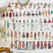 文具 シール貼紙 手帳素材 封口貼 マスキングテープ アンティーク 中世画報 少女少年 猫動物45*350mm