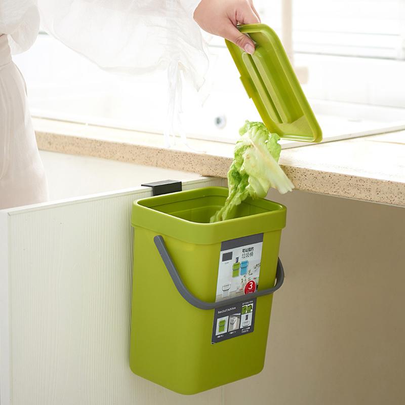 送料無料 壁掛けゴミ箱 蓋付き ゴミ箱 生ゴミ ハンドル付き 161*130*205mm 3L キッチン トイレ お手洗い