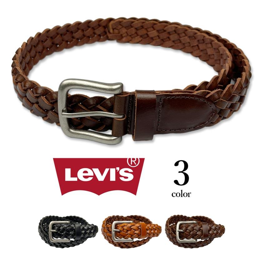 【全3色】 Levi's リーバイス リアルレザー メッシュ ベルト 編み込みベルト