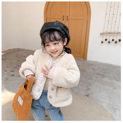 【KID】厚いジャケット 暖かい子供服 無地 シンプル 冬秋