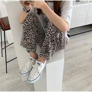 シンプルで持ちやすくて機能的 韓国ファッション  ワイドパンツ エレガント ヒョウ柄 ハイウエスト