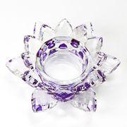 クリスタルガラス 蓮花台 お皿 小サイズ パープルカラー 風水 丸玉台 置物 インテリア オブジェ