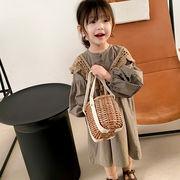 キッズ春新作 女の子 レトロ ワンピ  シフトドレス 長袖ワンピース 花柄 スカーフ付 韓国風子供服 7-15