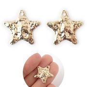 韓国風デザイン 【34.星型・槌目風チャーム】1個 星 ゴールド メタルチャーム  槌目 ハンドメイド