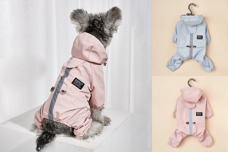 犬服 小中型  ペット用品 ドッグウェア ネコ雑貨 ペット服 防水 レインコート 梅雨対応 反射テープ付き