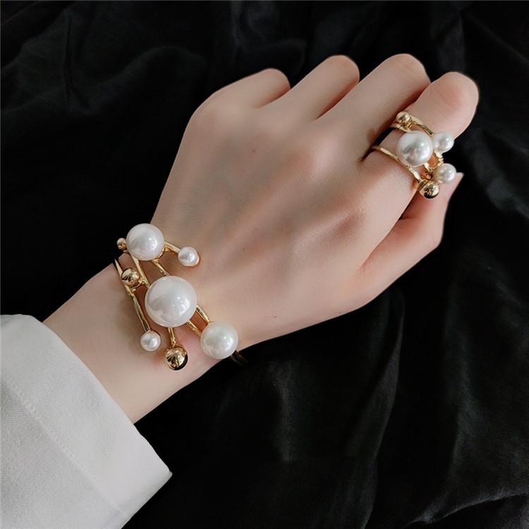 ここであなたが一番美しいです メタル 真珠 装飾 オープニング デザインセンス 誇張 多層 リング