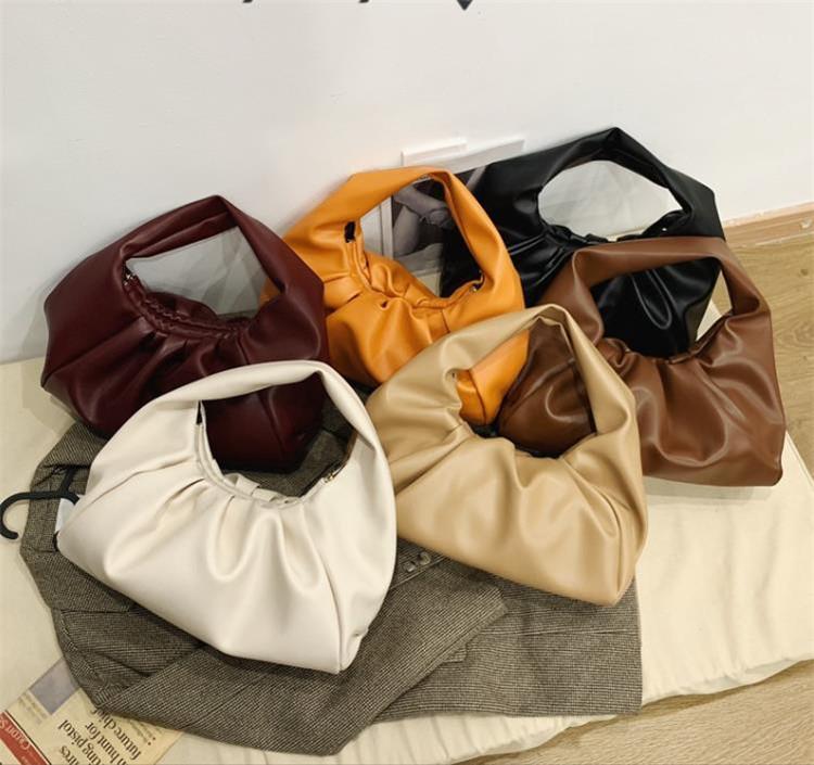 いまだけの超SALE価格 無地 折り目 クレセントバッグ シンプル ショルダー 脇毛バッグ ハンドバッグ