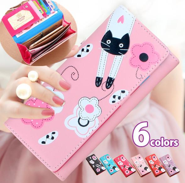 2021新作 レディース長財布 ネコと花のイラスト カード収納 小銭入れ 猫柄財布