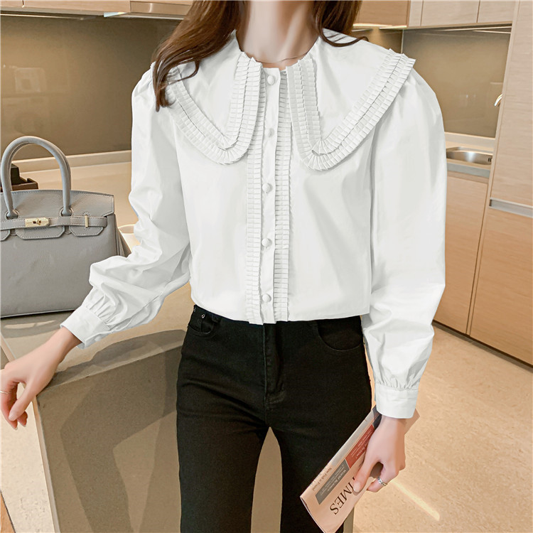 韓国ファッション 2021 新品 気質 減齢 人形の襟 パフスリーブ シャツ ゆったりする おしゃれな sweet系