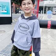 【KID】2021年韓国春新作 重ね着風フーディ♪ 男の子 女の子 着回しやすい シンプル