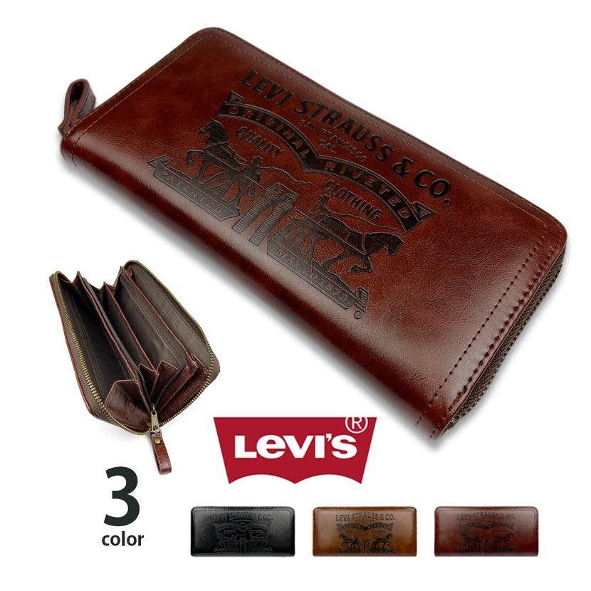 【全3色】Levis リーバイス ラベルパッチデザイン型押し エコレザー ラウンドファスナー長財布