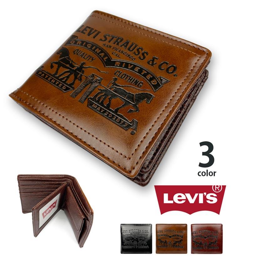 【全3色】Levis リーバイス ラベルパッチデザイン型押し エコレザー 二つ折り 中ベラ 財布