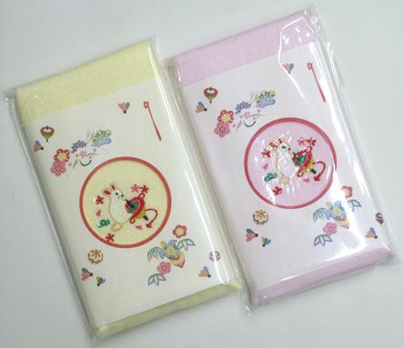 兎の刺繍入りカラーフェィスタオル_【日本製】在庫処分品